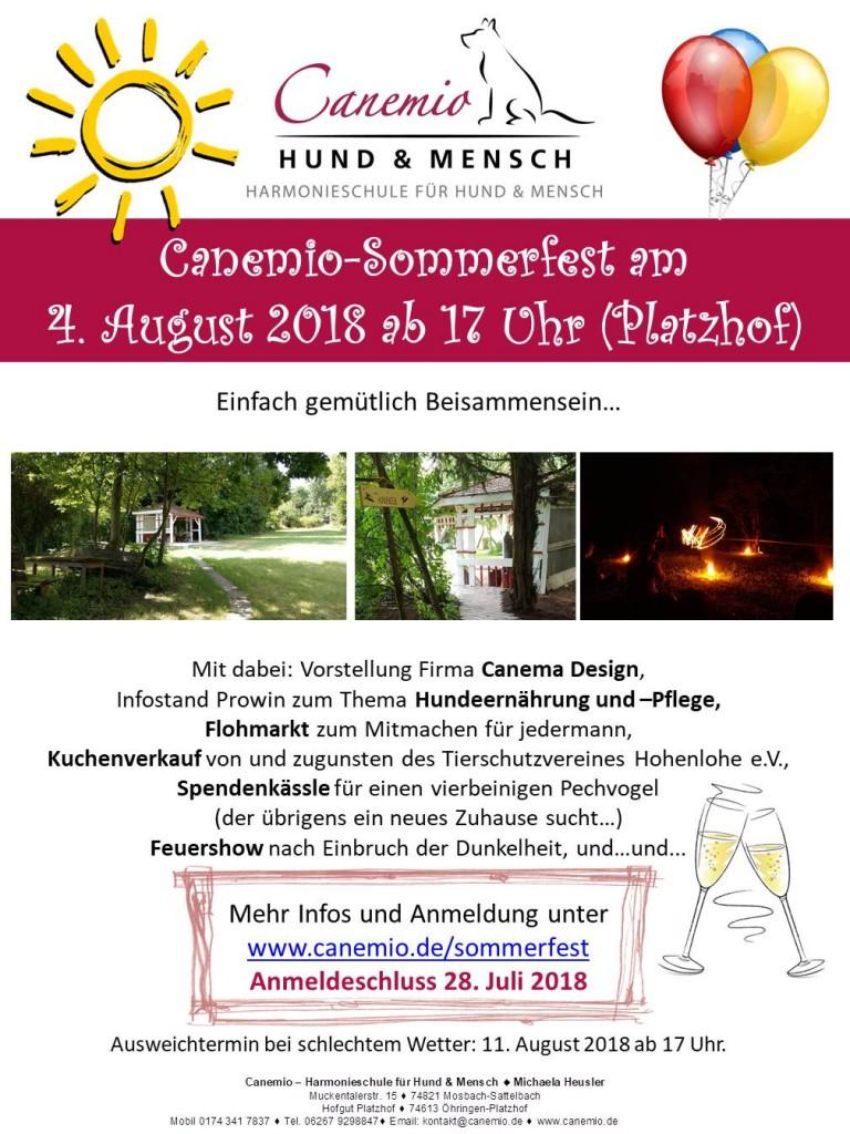 Plakat Canemio Sommerfest 2018